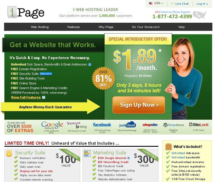 אחסון אתרים ב- iPage